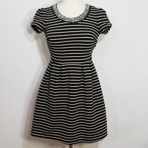 Maison Jules Embellished Collar Striped Dress XS